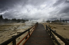 Landscape and geysers in Yellowstone Stock Photo
