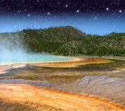 Landscape and Geysers of Yellowstone NP Stock Photo
