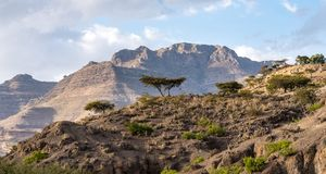 Landscape between Gheralta and Lalibela in Tigray, Northern Ethiopia, Africa royalty free stock photography