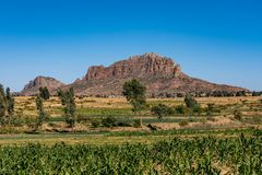 Landscape in Gheralta near Abraha Asbaha in Northern Ethiopia, Africa stock photo