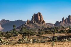 Landscape in Gheralta near Abraha Asbaha in Northern Ethiopia, Africa royalty free stock photo