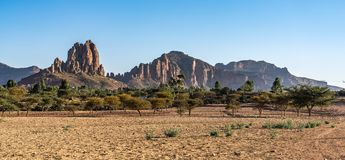 Landscape in Gheralta near Abraha Asbaha in Northern Ethiopia, Africa stock images