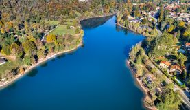 Landscape of Ghirla lake in autumn, aerial view. royalty free stock image