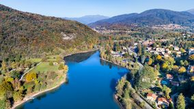 Landscape of Ghirla lake in autumn, aerial view. royalty free stock photo