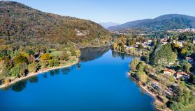 Landscape of Ghirla lake in autumn, aerial view. stock images