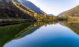 Landscape of Ghirla lake in the morning, aerial view, Italy royalty free stock images
