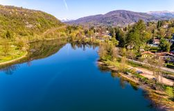 Landscape of Ghirla lake in the morning, aerial view, Italy stock photos
