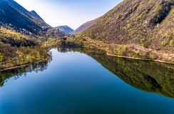 Landscape of Ghirla lake in the morning, aerial view, Italy stock photography