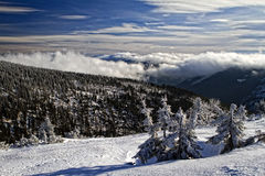 Landscape of the Giant. Winter landscape and panorama of the Giant Mountains in Czech Republic Stock Image