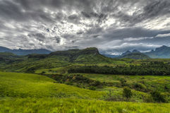 Landscape of Giants Castle Game Reserve. Dramatic views of the hills of the Drakensberg Range in the Giants Castle Game Reserve, KwaZulu-Natal, South Africa royalty free stock image