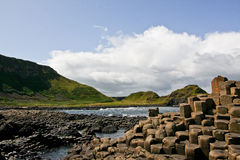 Landscape of the Giants Causeway and Cliffs, Northern Ireland. Giants Causeway, unique geological formation of rocks and cliffs in Antrim County, Northern stock images
