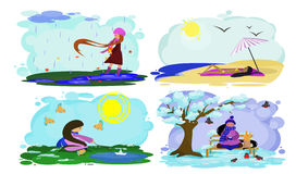 Landscape with a girl at different times of the year. Landscape with a girl with long, flowing hair in different seasons, vector Royalty Free Stock Image