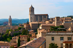 Landscape of Girona with Cathedral. Spain Stock Photos