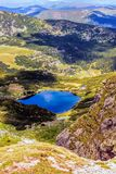 Landscape with a glacial lake in the highlands of Fagaras Stock Image