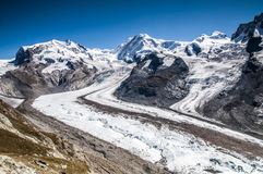 Landscape of Glacier du Gorner with Monterosa, Zermatt Switzerla Stock Photo