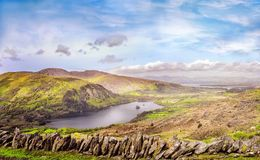 Landscape with Glanmore lake. Freshwater lake in the southwest of Ireland. It is located on the Beara Peninsula in County Kerry royalty free stock photo