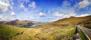 Landscape with Glanmore lake. Freshwater lake in the southwest of Ireland. It is located on the Beara Peninsula in County Kerry stock images