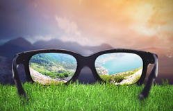 Landscape through the glasses Royalty Free Stock Photos