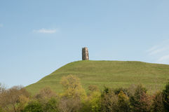 Landscape of glastonbury tor. Glastonbury tor and the landscape in somerset in England stock photo