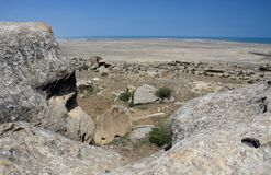 Landscape of Gobustan Natural park, Azerbaijan,was established in 1966 to preserve the ancient carvings, mud volcanoes and gas-sto. Nes in the region stock images
