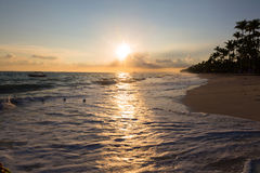 Landscape golden ocean dawn Royalty Free Stock Photos