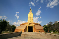 Landscape of golden pagoda with nature environment Stock Photo