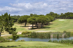 Landscape of a golf course on the coastline of Portugal Royalty Free Stock Photos