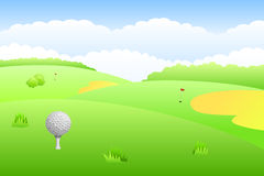 Landscape golf course green grass background illustration Royalty Free Stock Image