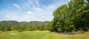 Landscape on a golf course with green grass, trees, beautiful blue sky, panorama. Landscape on a golf course with green grass, trees, beautiful blue sky and a Royalty Free Stock Photography