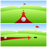 Landscape golf course green white ball red arrow background illustration Stock Images