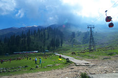 Landscape with a Gondola ride in Gulmarg Stock Photo