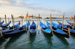 Landscape with gondolas in Venice Royalty Free Stock Photography