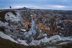 Landscape of Goreme sunset view point . Cappadocia. Nevsehir Province. Turkey