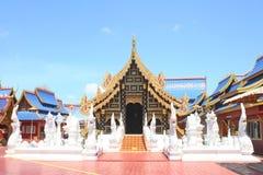 Landscape gorgeous temple on clear sky , Wat Phiphatmongkolwanaram in Sukhothai ,Central Region,of Thailand. Close up Landscape gorgeous temple on clear sky stock photo