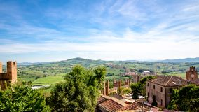 Landscape from Gradara Castle, italy Stock Photography