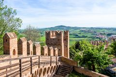 Landscape from Gradara Castle, italy Royalty Free Stock Photo