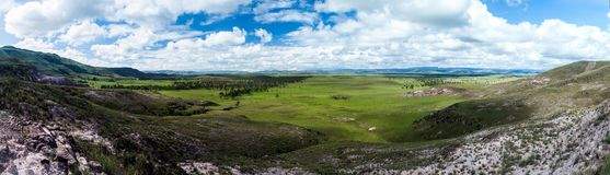 Landscape of Gran Sabana region. Panorama of Gran Sabana region in National Park Canaima, Venezuela stock photo