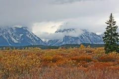 Grand Teton under clouds Stock Image