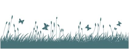 Landscape with grass and butterflies. Stock Photography