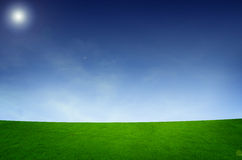 Landscape with grass field. Backgrounds blue brightly clean clear cloud color stock images