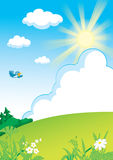 Landscape_with_grass_forest_and_sun. Landscape with grass, forest, clouds and sun Stock Illustration