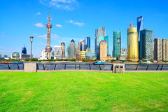 Landscape grass prospects the Shanghai Lujiazui city buildings. Of landmark sunny skyline royalty free stock images