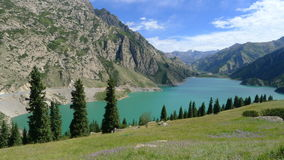 Landscape of Great Dragon Lake in Tianshan mountain Royalty Free Stock Image