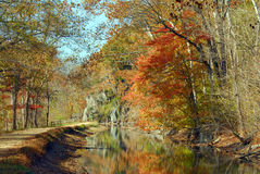 Landscape of the Great Falls Canal in Autumn Royalty Free Stock Photo