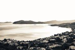 Landscape of greek town and Aegean sea. Paleo Tsifliki, Greece; in monochrome Stock Image
