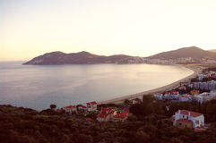 Landscape of greek town in sunny evening Stock Photography