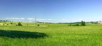 Landscape with green field Stock Photography