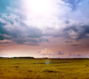 Landscape of green field and sun in the sky stock photos