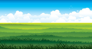 Landscape with green field and white clouds on a sky. Royalty Free Stock Image
