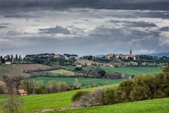 Landscape with green fields in Umbria Royalty Free Stock Photos